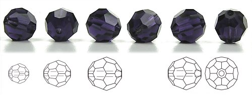 8mm Tanzanite, Czech Machine Cut Round Crystal Beads, 12 pieces