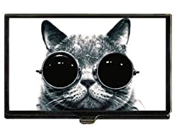 Cat Steampunk in Goggles, Great B&W Photo Business Card Case Holder USA Made