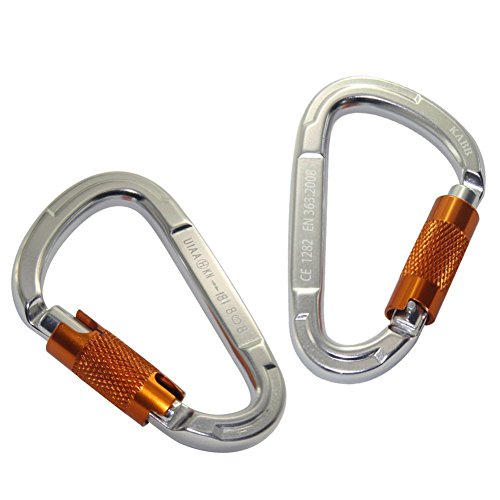 KABB 2 Pcs Locking Carabiner, 18 Kn D Shaped Hot Forged Magnalium Screw Auto Twist Locking Carabiners for Hammock Fishing Hiking Yoga
