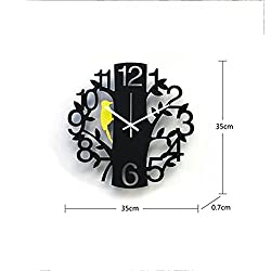 Stylish and simple/Home/Kitchen/School Clock/Easy to Read.16-inch wall clock personality mute art fashion creative living room large wall clock clock digital woodpecker clock,coffee color 14 inches