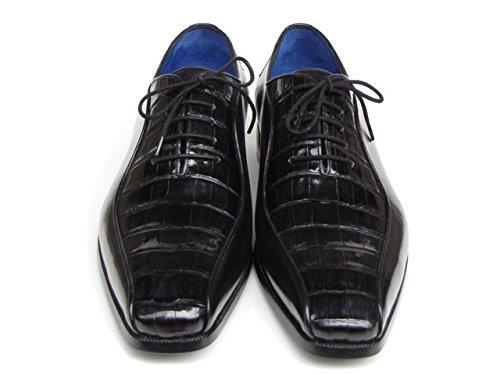 Paul PARKMAN Herren Schwarz echten Krokodil & Kalbsleder Oxford Schuhe (ID # 048)