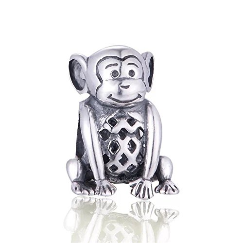Sterling Silver Monkey Charm - Lucky Animals Head Charm Authentic 925 Sterling Silver Pet Charms for European Bracelet (monkey)