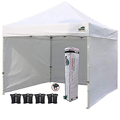 Eurmax 10'x10' Ez Pop Tent Commercial Instant Canopies with 4 Removable Zipper End Side Walls and Roller Bag Bonus 4 SandBags Weight, 1-White ()