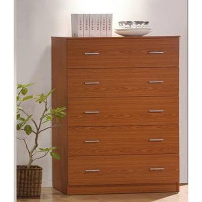 Cherry Ten Drawer Dresser - Hodedah Import  Jumbo Chest, 5 Drawer, Cherry