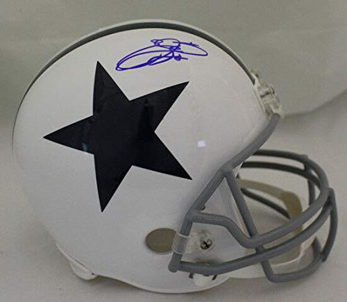 Emmitt Smith Autographed/Signed Dallas Cowboys White Replica Helmet PSA