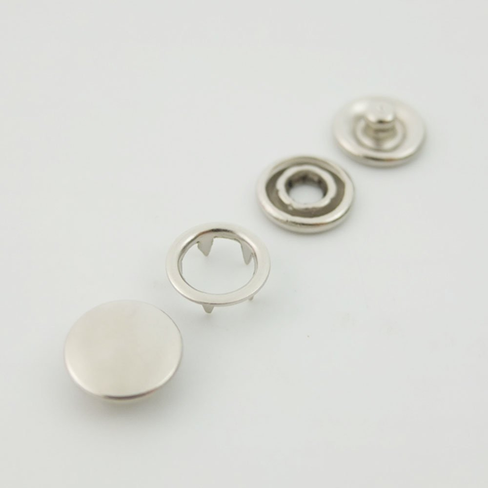 Bluemoona 100 Sets - 3/8 9.5mm Open Ring No Sew Snaps Fasteners Swing Stud Attaching Buttons Copper (Nickel)