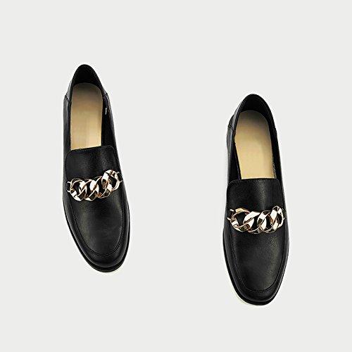 Zapatos Cabeza Solo Negro Mujeres En Primavera Plana Profunda Zapatos Redonda La Cadena Boca GAOLIM Bajos Zapatos Negro La Con w0SxqFHX