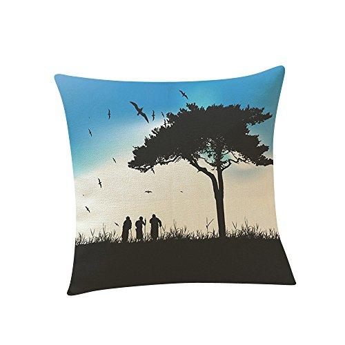 (Littay Pillowcase 18inch x 18inch,Lovers Painting Linen Cushion Cover Throw Waist Pillow Case Sofa Home)