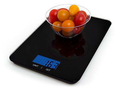Luxury Scales Digital Multifunction Kitchen and Food Scale, Elegant Black Square Shape (Batteries Included)