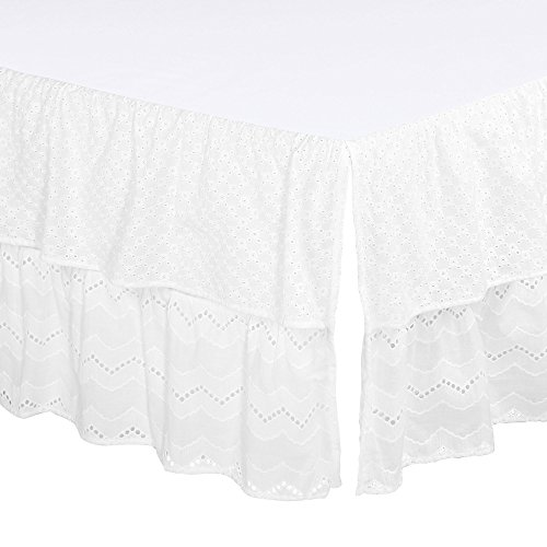 White Eyelet Two-Layered Crib Dust Ruffle by The Peanut (Embroidered Eyelet Skirt)