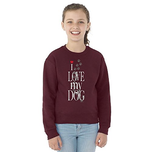 I Love My Dog Puppy Paw Print Youth Crewneck Dogs are Best Friend Sweatshirt Maroon Youth (Paw Print Neck)