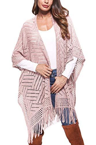 Womens Crochet Hollow Sweater Solid Color Bat Sleeve Tassel Shawl Wrap Cloak Poncho Pink