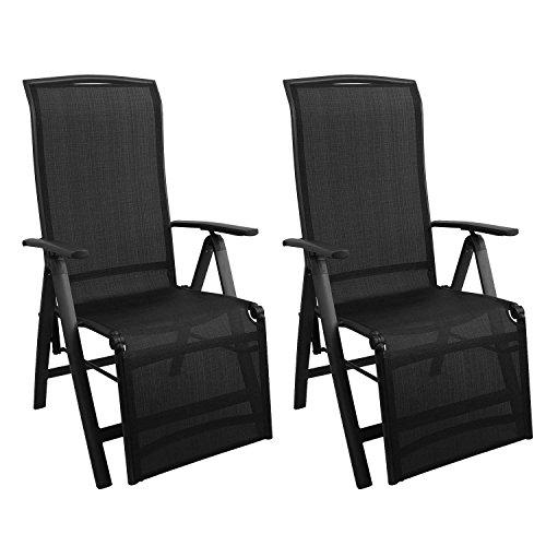 2 Stück Aluminium Gartenstuhl mit 2x1 Textilenbespannung, Rücken- und Fußteil um 5 Positionen verstellbar, klappbar, Hochlehner Positionsstuhl Klappstuhl Klappsessel Schwarz