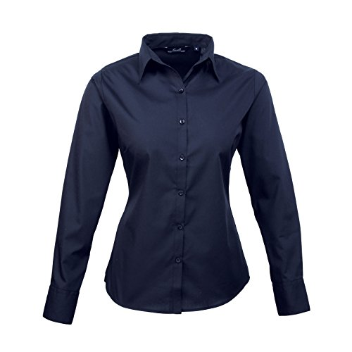 Premier Women 's formal Poplin Long Sleeve Camiseta azul marino