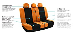 FH GROUP FH-FB030013 Light & Breezy Flat Cloth Seat Covers, Set Airbag & Split Ready,Orange / Black Color- Fit Most Car, Truck, Suv, or Van