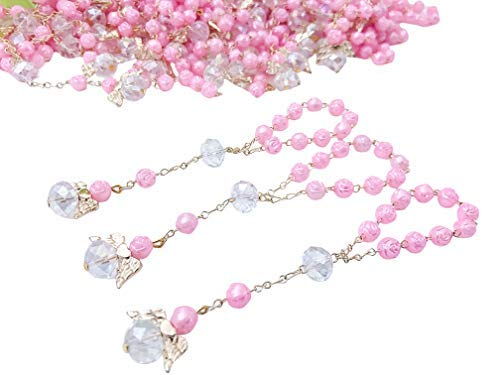 25 Pc Pink Color Baptism Favors with Angels Mini Rosaries Gold Plated Acrylic Beads/Recuerditos De Bautismo/Christening Favors/Decenarios/Decades/Finger Rosaries (Pink Rosary For Party Favor)