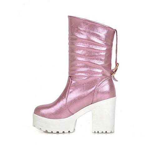 VogueZone009 Damen Ziehen auf Hoher Absatz PU Leder Rein Niedrig-Spitze Stiefel Pink