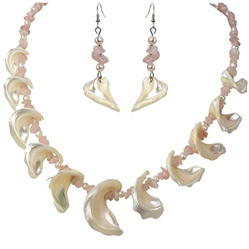 YACQ Freshwater Pearl Mother of Pearl Natural Rose Quartz 925 Sterling Silver Necklace Dangle Earrings Handmade Jewelry Sets for Women Teen Girls - And Set Earring Quartz Necklace