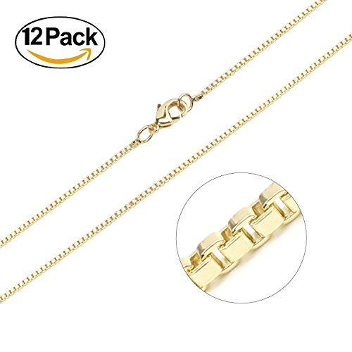 Gold Plated Over Solid Brass (Wholesale 12 PCS 1.2MM Thin Gold Plated Brass Box Chain Bulk for Jewelry Making (20 Inch))