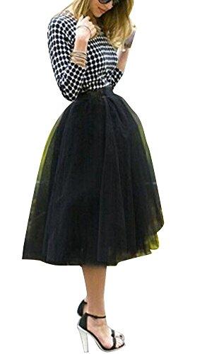 CANIS Women's A Line Short Knee Length Tutu Tulle Prom Party Skirt (S, black)