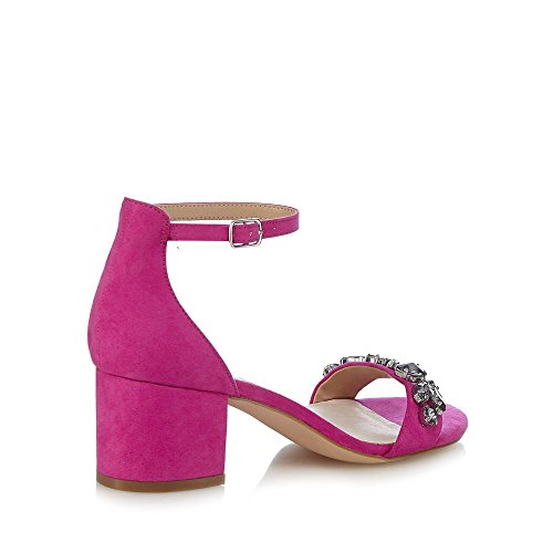 Faith Womens Pink Suedette 'Derry' Mid Block Heel Ankle Strap Sandals ql3cr