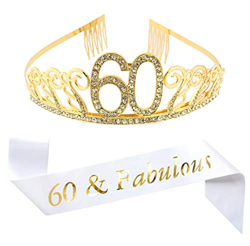 60th Birthday Gold Tiara and Sash, White Glitter Satin Sash and Crystal Rhinestone Tiara Birthday Crown for 60th Birthday Party Supplies Favors Decorations 60th Birthday Cake Topper ()