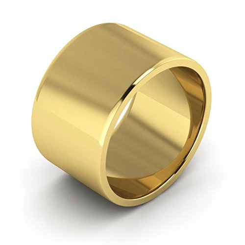 10K Yellow Gold men's and women's plain wedding bands 12mm flat, 8.25