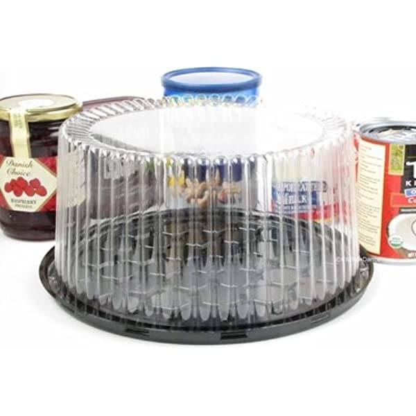 Pactiv YEH89901 ShowCake Two-Piece Cake Containers 10Diameter Case of 90 Black//Clear Plastic