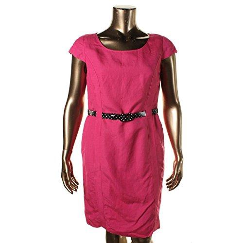 - Tahari ASL Women's Belted Linen-Blend Sheath Dress Strawberry Pink 10