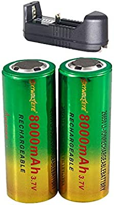 Amazon.com: 2pcs 8000mAh 26650 Batería de Li-ion 3.7V ...