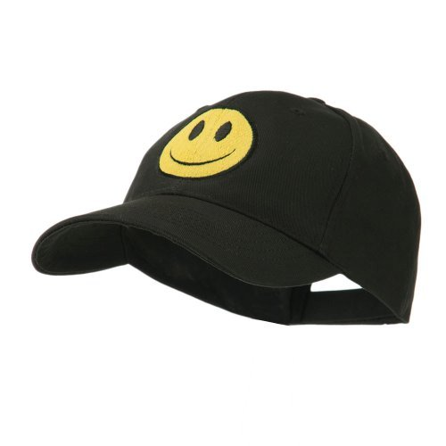 Cap Happy Face (E4hats Smiley Face Embroidered Cap - Black OSFM)
