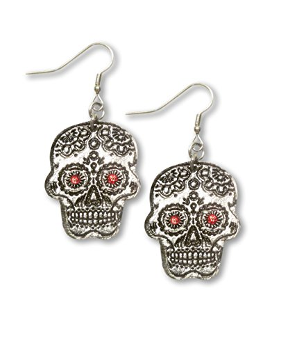 Sugar Skull Pewter Earrings with Red Austrian Crystal Stones (Red Skull Costume)