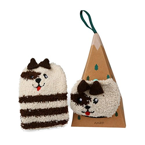 Ff Box (Clearance! Napoo Child Cute Christmas Cartoon Socks Coral Velvet Embroidery Winter Warm Sock+Box (FF))