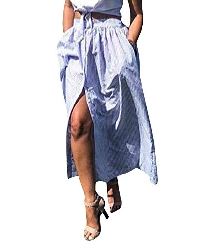 Lalagen Women's Striped Front Slit Ankle Length Button Front High Waist Maxi Skirt Blue M