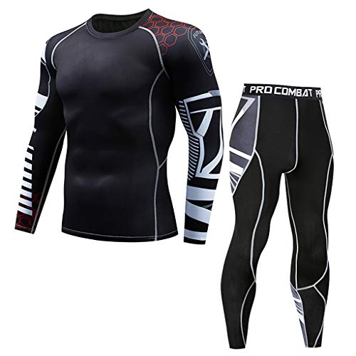 Mens Thermal Underwear Set, Sport Long Johns Base Layer for Male, Winter Gear Compression Suits for Skiing Running Men Quick Dry Compression Sports Set Long Sleeve T-Shirt Workout Fitness Bodysuit