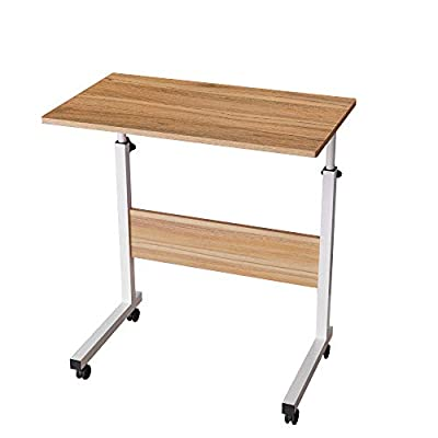 "Soges 23.6"" Adjustable Mobile Desk Portable Laptop Table Computer Stand Desk Cart Tray, Oak ZS-05-1-60WA"