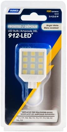 Camco 54620 912 Frosted Lens LED Bulb with T-10 Wedge Base