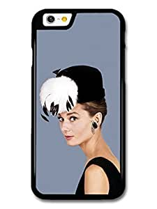 AMAF ? Accessories Audrey Hepburn Wearing Black Hat With Feathers case for iPhone 6