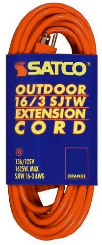 Satco 93-5035 15' Orange Light Duty Outdoor Extention Cord (16-3 SJTW-3) by Satco