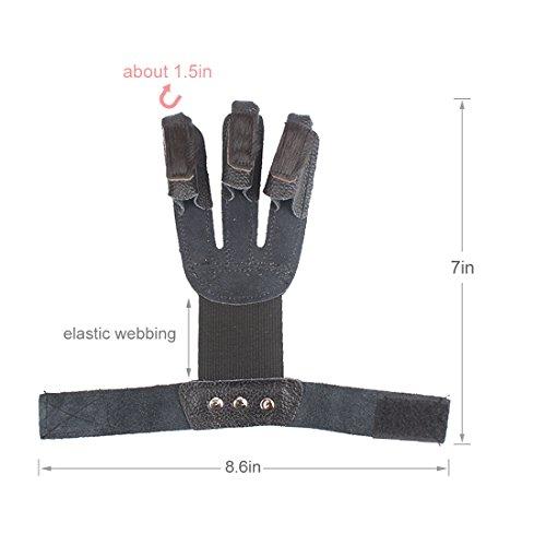 Krayney Adult Youth Leather 3-Strap Arm Guard & Gloves Protector, Arrow Bow Archery Gear Accessories, Archery Arm Finger Protector (Black-Youth Size)