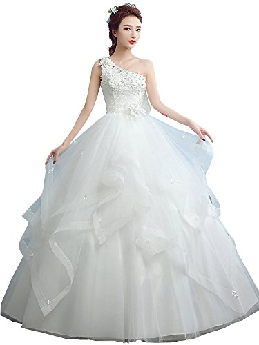 Okaybrial Women's Sexy Wedding Dress One Shoulder Appliques Beaded Wedding Gowns for Bride