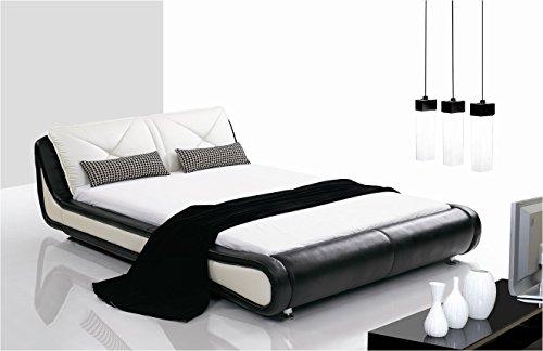 (Metropolitan Curved Black and White Leather Platform Bed )
