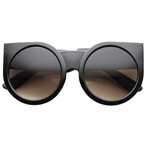 zeroUV - Womens Oversized Super Bold Round Cat Eye Sunglasses (Shiny-Black - Farrow Eye Linda Cat