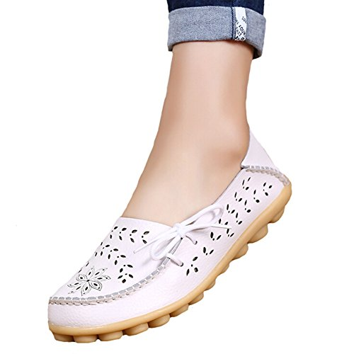 Angelliu Women Casual Hollow Autumn Spring Leather Doug Flats Moms Shoes Loafers White b2UdTA