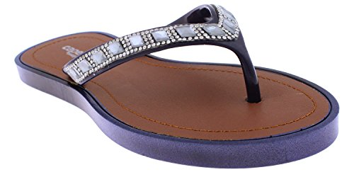 Ladie Navy Blue Rhinestone - Capelli New York Ladies Fashion Flip Flops With Rhinestone And Gem Trim Navy 6