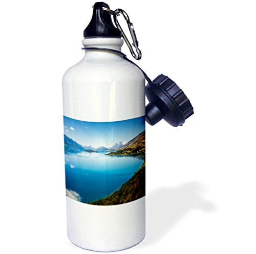3dRose DanielaPhotography - Landscape, Nature - The Blue Waters of Lake Wakatipu in New Zealand, South Island. - 21 oz Sports Water Bottle (wb_280197_1) by 3dRose