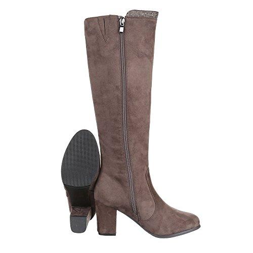 Ital-Design High Heel Stiefel Damenschuhe Klassischer Stiefel Pump Strass Besetzte Reißverschluss Stiefel Hellbraun