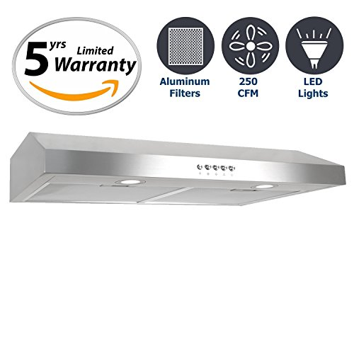 Cosmo 30 in. 250 CFM Ducted Under Cabinet Range Hood with Push Button Control Panel, Kitchen Vent Cooking Fan Range Hood with Aluminum Filters and LED Lighting (Vent Steel Direct Stainless)