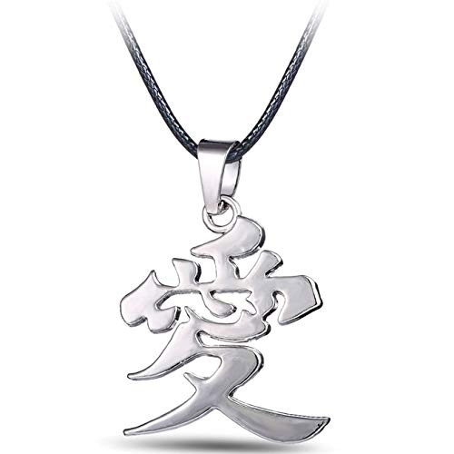 Value-Smart-Toys - MJ Jewelry Anime Naruto Gaara Gourd Love Logo Chinese Word AI LOVE Pendant Metal Necklace favorite gifts
