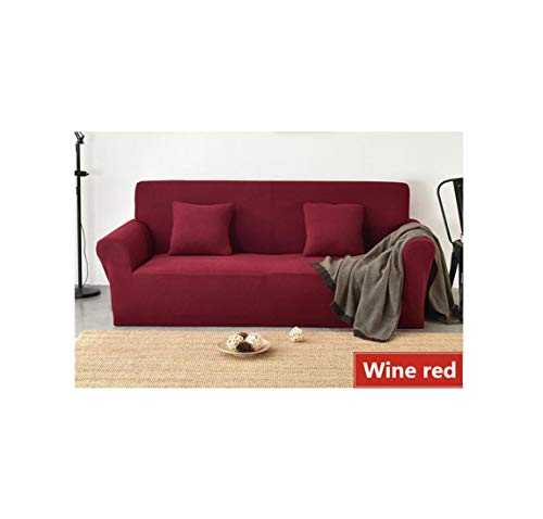 Slipcover Fleece Fabric Sofa Cover Stretch Anti-Pets s Sofa Covers Washable Removable Couch Covers Solid Color Commonly Used,Wine Red,2 Seater